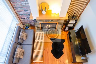 Fototapete Draufsicht Auf Ein Modernes Luxus Wohnzimmer Mit Mauer, Kamin,  Sofa, TV