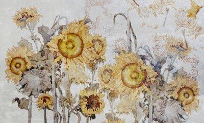 Fototapete Drawing of sunflowers, illustration of flowers. Flowers for wallpaper, photo wallpaper, mural, card, postcard. Beautiful wallpaper design.
