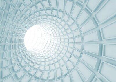 Fototapete Drehen des blauen Tunnelinnenraums mit extrudierten Fliesen