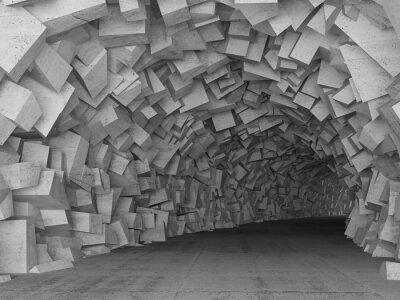 Fototapete Drehen konkrete Tunnel Innenraum, 3d render