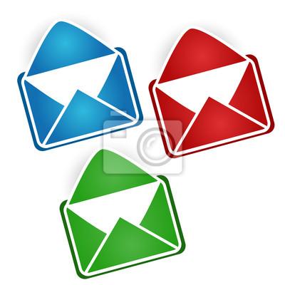 Drei bunte Briefumschläge