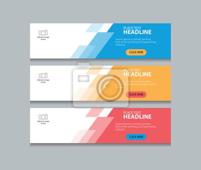 Fototapete Drei Farbe abstrakte Web-Banner-Design-Vorlage