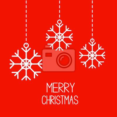 Drei hängende Schneeflocken. Merry Christmas card.