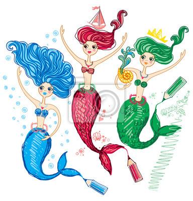 Drei Niedliche Meerjungfrau Mit Buntstiften Gezeichnet Fototapete