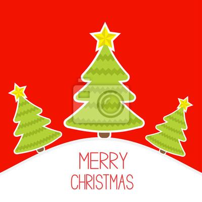 Drei Weihnachtsbäume ein schneebedeckter Hügel. Merry Christmas card.