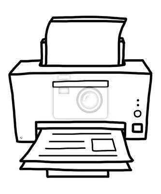 Fototapete Drucker / Karikaturvektor und Illustration, Schwarzweiss, Hand gezeichnet, Skizzenart, lokalisiert auf weißem Hintergrund.