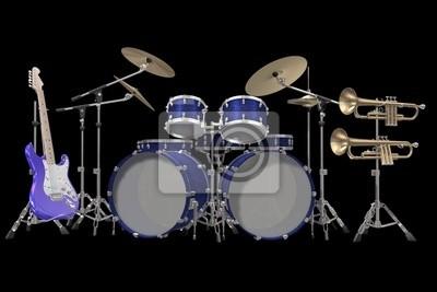 Drum-Kit -Gitarre und Trompete auf einem schwarzen Hintergrund