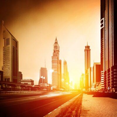 Fototapete Dubai Stadt im Sonnenuntergang
