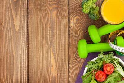 Fototapete Dumbells, Maßband und gesundes Essen. Fitness und Gesundheit