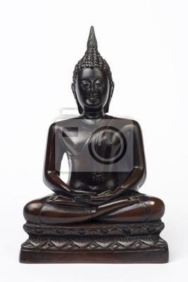 fototapete dunkelbraun holz geschnitzte buddha figur isoliert auf weiss
