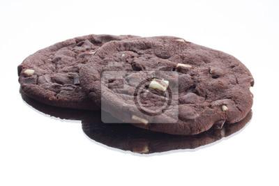 Fototapete dunkelbrauner Schokolade Cookie mit weißen Schokoladenstückchen