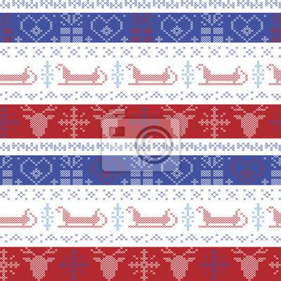 Dunkle und helle blaue und rote nordic weihnachten nahtlose muster ...