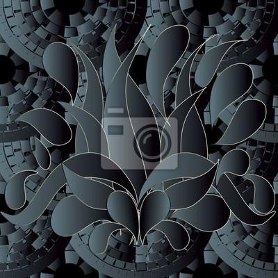 Dunklen Floralen Nahtlose Muster Hintergrund Tapeten Illustration