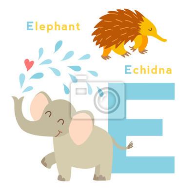 E Brief Tiere gesetzt. Englisches Alphabet. Vektor-Illustration, isoliert auf weißem Hintergrund