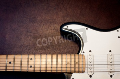 Fototapete E-Gitarre Körper und Hals Detail auf hölzernen Hintergrund Vintage-Look