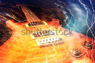 Fototapete E-Gitarre mit den Blitzen umgeben