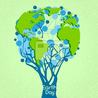 Earth day grüne baum mit globe welt konzept fototapete • fototapeten ...