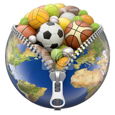 Earth Globe mit Reißverschluss voller Sport Bälle isoliert auf weißem Hintergrund