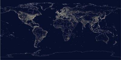 Fototapete Earth's Lichter politische Karte