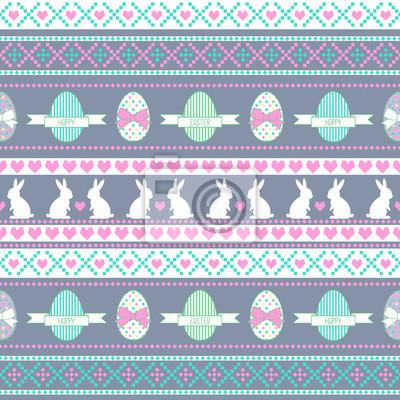 Fototapete Easter pattern. Hintergrund mit Bunny, Eier