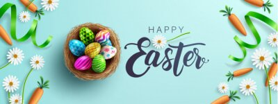 Fototapete Easter poster and banner template with Fower, carrots and Easter eggs in the nest on table.Greetings and presents for Easter Day in flat lay styling.Promotion and shopping template for Easter Day