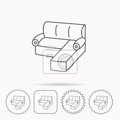 Eck-sofa-symbol. gemütliches couchschild. fototapete • fototapeten ...
