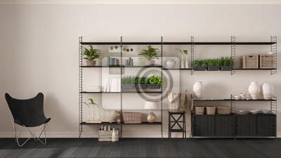 Fototapete: Eco weiß interieur design mit holz bücherregal, diy vertikalen