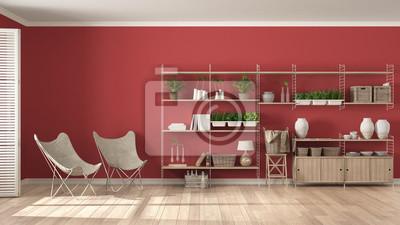 Fototapete: Eco weiß und rot innenarchitektur mit holz bücherregal, diy  vertikalen