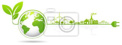 Fototapete Ecology concept and Environmental ,Banner design elements for sustainable energy development, Vector illustration