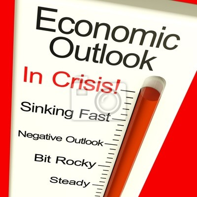 Fototapete Economic Outlook In Crisis Monitor mit Konkurs und Depres