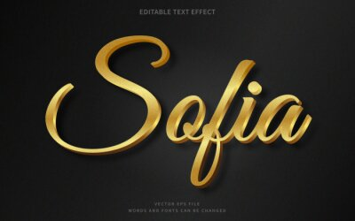 Fototapete Editable 3d gold text effect. Fancy font style perfect for logotype, title or heading text.