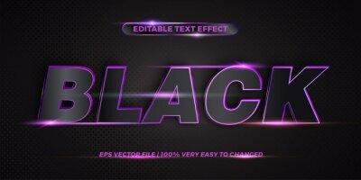 Fototapete Editable 3d text effect styles mockup concept - Dark blue words with Gradient Black color