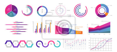 Fototapete Editable Infographic Templates. Use in corporate report, marketing, annual report. Network management data screen with charts, diagrams. Hud vector interface