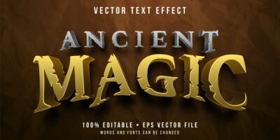 Fototapete Editable text effect - ancient magic game style