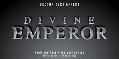 Fototapete Editable text effect - textured silver style