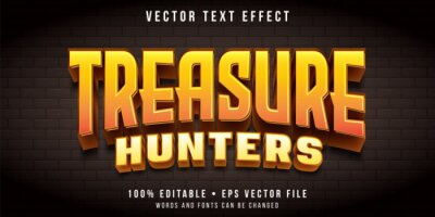 Fototapete Editable text effect - treasure hunt game style