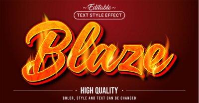Fototapete Editable text style effect - Blaze text style theme.