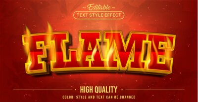 Fototapete Editable text style effect - Flame text style theme.