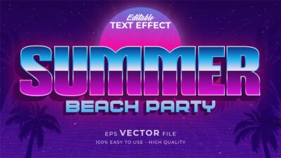 Fototapete Editable text style effect - retro summer text in 80s style theme