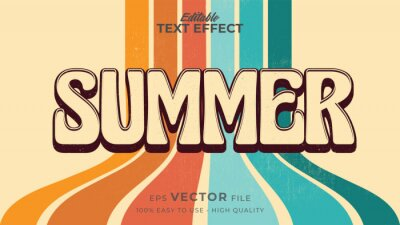 Fototapete Editable text style effect - retro summer text in grunge style theme