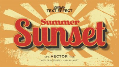 Fototapete Editable text style effect - retro sunset summer text in grunge style theme