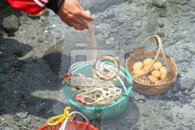 Eggs In basket. Boiled in hot springs.