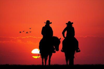 Fototapete Ehepaar auf Pferd Silhouette