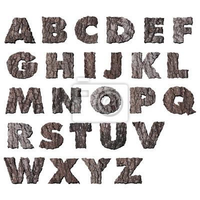 Eiche Holzrinde Alphabet Großbuchstaben