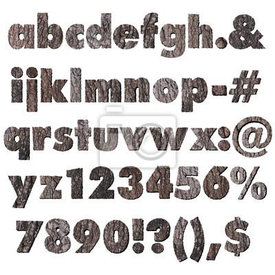 Eiche Holzrinde Alphabet Kleinbuchstaben und Symbolen