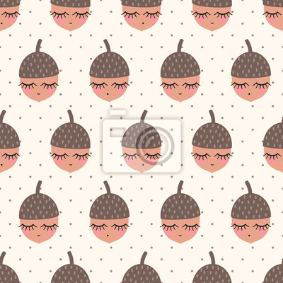 Fototapete Eicheln nahtlose Muster auf Polka Dots Hintergrund. Kind Zeichnung Stil Natur Hintergrund. Design für Textil-, Tapeten-, Stoff-, Druck auf Baby-Kleidung.