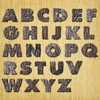 Eichenrinde Alphabet auf Holz - Groß-
