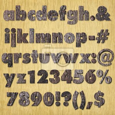 Eichenrinde Alphabet auf Holz - Klein