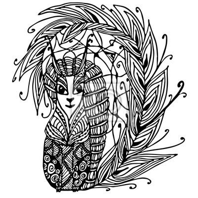 Eichhörnchen Handgezeichnete Eichhörnchen Mit Ethnischen Doodle