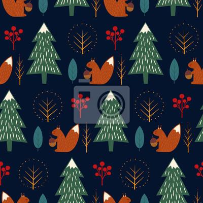 Fototapete Eichhörnchen im Wald nahtlose Muster auf dunkelblauem Hintergrund. Weihnachten skandinavischen Stil Natur Illustration. Netter Winterwald mit Tierentwurf für Gewebe, Tapete, Gewebe.